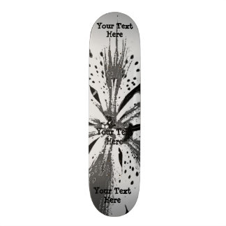black and white splashes abstract street art style skate board deck
