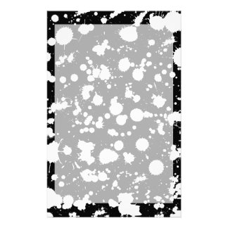Black and White Splatter Paint Art Stationery Paper