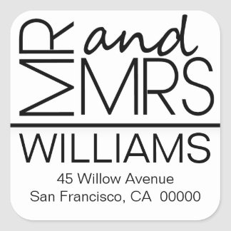 Black And White Square Address Labels Mr And Mrs