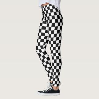 Black And White Square Checkered Pattern Leggings