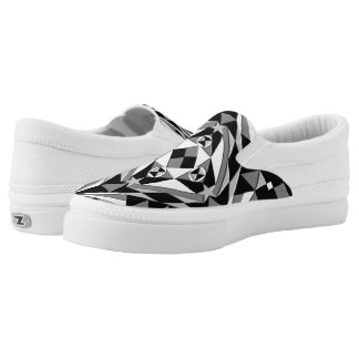 Black and White Square Pattern Slip-On Sneakers