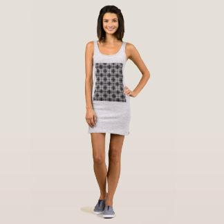 Black and White Square Print T Shirt Dress