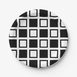 Black and White Squares Paper Plate