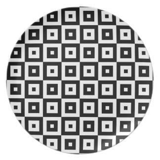 Black and White Squares Pattern Plate
