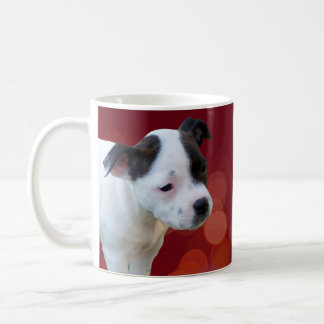 Black And White Staffordshire Bull Terrier Puppy, Coffee Mug