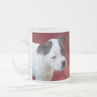 Black And White Staffordshire Bull Terrier Puppy, Frosted Glass Coffee Mug