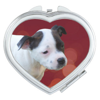 Black And White staffordshire Bull Terrier Puppy, Makeup Mirrors