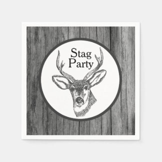 Black and White Stag Head Stag Party Paper Napkin