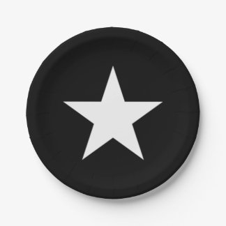 Black and White Star Paper Plate