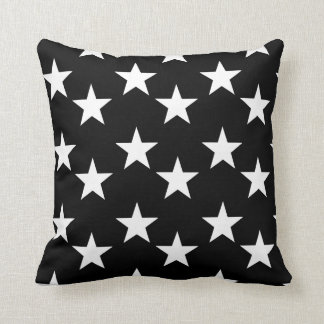 Black and White Star Pattern Accent Pillow