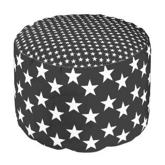Black and White Star Print Pouf