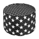 Black and White Star Print Pouf