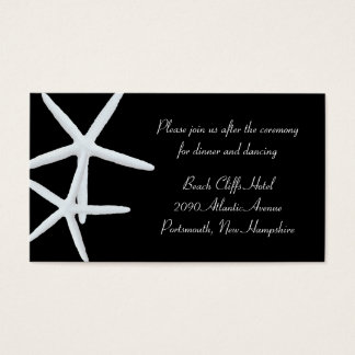 Black and White Starfish Reception Venue Enclosure Business Card