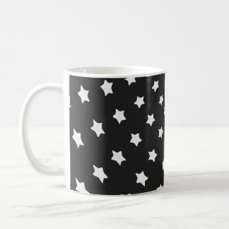 Black and White Stars Classic White Coffee Mug