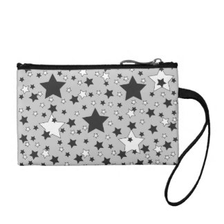 Black and White Stars on Grey Change Purses
