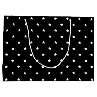 Black And White Stars Pattern Large Gift Bag