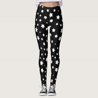 Black and white stars pattern leggings