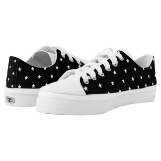 Black And White Stars Pattern Low-Top Sneakers