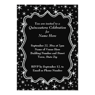 Black and White Stars Pattern Quinceanera Card