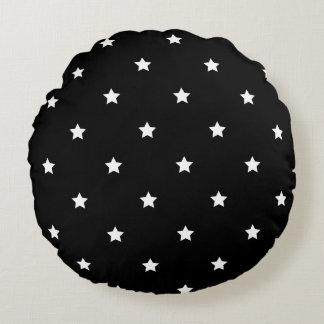 Black And White Stars Pattern Round Pillow