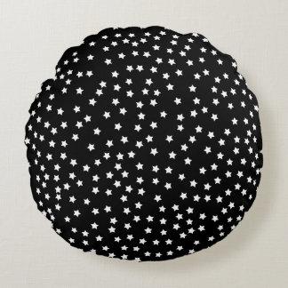 Black and White Stars Round Pillow