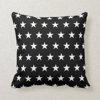 Black and White Stars Throw Pillow