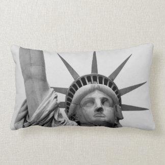 Black and White Statue of Liberty Lumbar Pillow