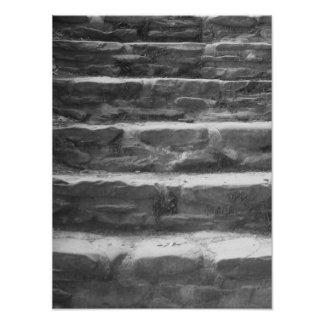 Black And White Stone Steps Photo Poster