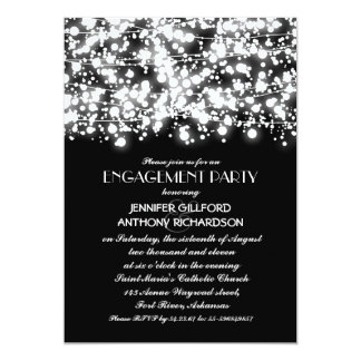 black and white string lights engagement party card