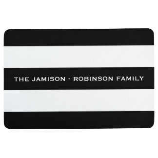 Black and White Stripe Custom Floor Mat with NAME