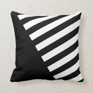 Black and White Stripe Diagonal Throw Pillow