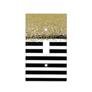 Black and White Stripe Faux Gold Glitter Light Switch Cover