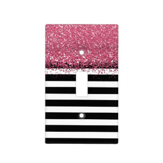Black and White Stripe Faux Pink Glitter Light Switch Cover