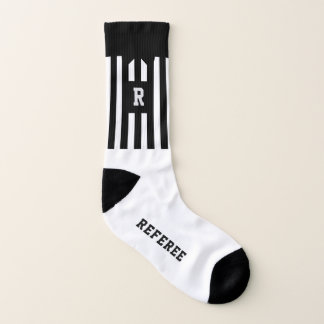 Black and White Stripe Football Referee Socks 1