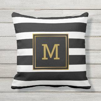 Black and White Stripe Gold Modern Monogram Throw Pillow
