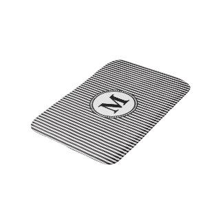 Black and White Stripe Monogram Bath Mat