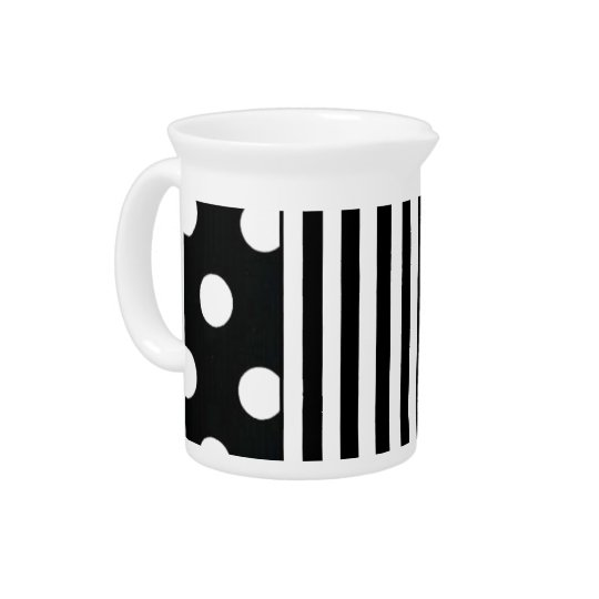 Black and White Stripe on Dot Pitcher