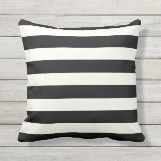 Black and White Stripe Outdoor Pillow