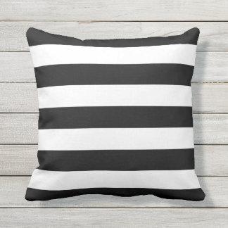 Black and White Stripe Outdoor Throw Pillow