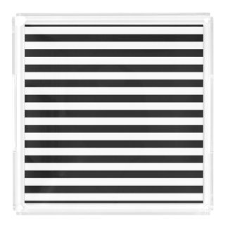 Black and White Stripe Pattern Acrylic Tray