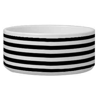 Black and White Stripe Pattern Dog Bowls
