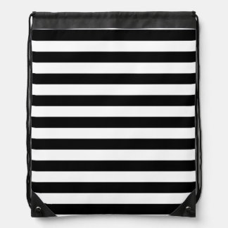 Black and White Stripe Pattern Drawstring Bag