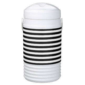 Black and White Stripe Pattern Drinks Cooler