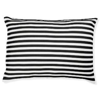 Black and White Stripe Pattern Large Dog Bed