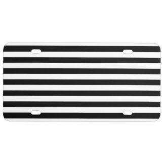Black and White Stripe Pattern License Plate