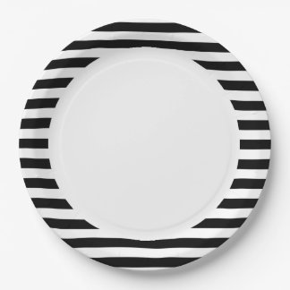 Black and White Stripe Pattern Paper Plate