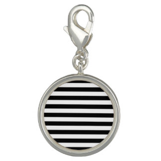 Black and White Stripe Pattern Photo Charm