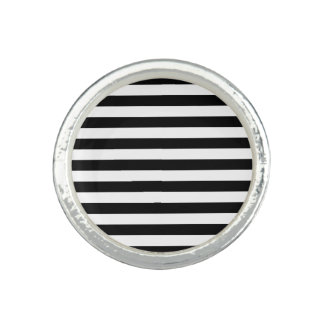 Black and White Stripe Pattern Photo Rings