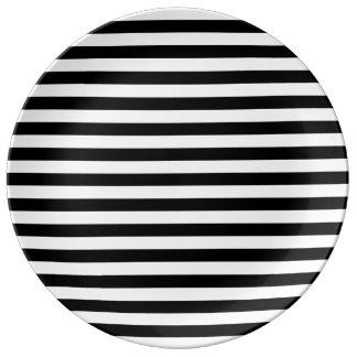 Black and White Stripe Pattern Porcelain Plate
