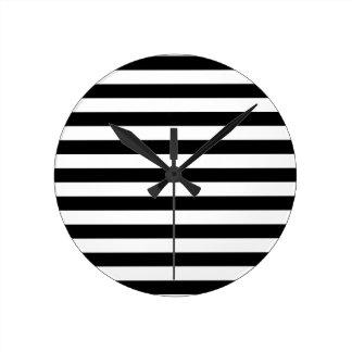 Black and White Stripe Pattern Round Clock